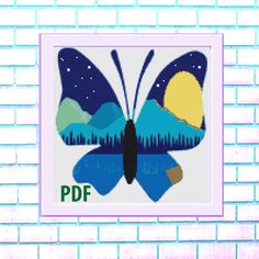Butterfly Modern Cross Stitch Pattern, blue- landscape, flowers, needlepoint-DIY, insect, nature, embroidery, Instant download PDF by ItsStitchy on Etsy Sugar Skull Halloween, Bird Skull, Modern Cross Stitch Patterns, Colorful Pictures, Cross Stitching, Needlepoint, Pdf, Butterfly, Embroidery