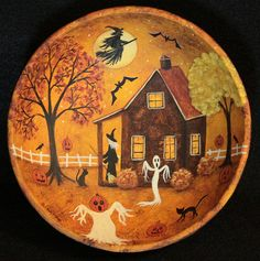 Halloween Primitive Folk Art Wood Bowl - Hand painted MADE TO ORDER - Witch Sweeping her Porch, Bats, Full Moon, Black Cats, by RavensBendFolkArt on Etsy
