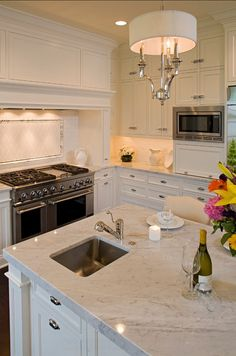 Marble Kitchen. Great White Marble in this Kitchen! #Marble #Kitchen #Countertop