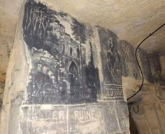 Note the charcoal cartoon in a Cave under Valkenburg castle in Valkenburg, Limburg in the  Netherlands.