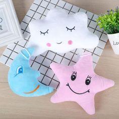 35cm Luminous Plush Stars Smile Face Pillow Soft Stuffed Peluches Cushion Creative Cute Led Light Toys Oyuncak For Kids Grownups Toys & Hobbies