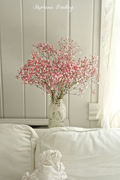 White with a pop of pink flowers. So pretty.