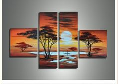 Shop for African Sunrise Large Canvas Painting- 4 Piece. Get free delivery On EVERYTHING* Overstock - Your Online Art Gallery Store! Tree Canvas, Canvas Wall Art, Blank Canvas, Abstract Canvas, Oil Painting On Canvas, Painting Frames, African Art Paintings, Oil Paintings, African Sunset