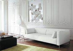 Living Room , White Living Room Ideas for Sleek, Clean and Chic Welcoming Space : Spacious White Living Room Idea With Long Sofa Design