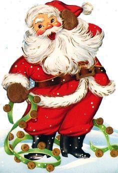 vintage Santa with sleigh bells Christmas Graphics, Christmas Banners, Christmas Scenes, Christmas Clipart, Noel Christmas, Retro Christmas, Christmas Printables, Christmas Crafts, Christmas Mantles