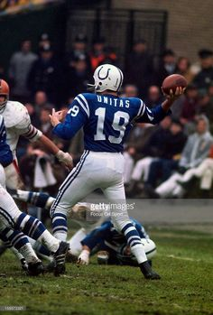 Quarterback Johnny Unitas of the Baltimore Colts drops back to pass against the Cleveland Browns during an NFL football game December 1971 at Cleveland Municipal Stadium in Cleveland, Ohio. Unitas played for the Colts from - pinnervor American Football League, National Football League, Nfl Colts, Nfl Football Players, Football Cards, Baseball Cards, Cleveland Browns, Cleveland Ohio, Baltimore Colts