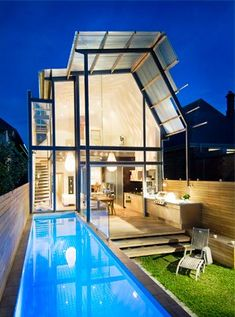 This charming little 1880 Victorian cottage in Adelaide, Australia is not all it appears to be. Glass House Design, Tiny House Design, Beautiful Small Homes, Casa Loft, Rest House, Modern House Plans, Pool Houses, Pool Designs, Exterior Design