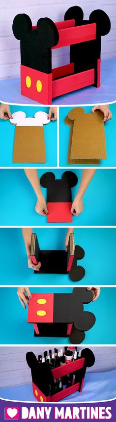 Make yourself a Mickey Mini Bookshelf, easy to make, inexpensive, with . Disney Diy, Disney Crafts, Disney Mickey, Cardboard Furniture, Cardboard Crafts, Mickey Party, Mickey Mouse Birthday, Diy Home Crafts, Crafts For Kids