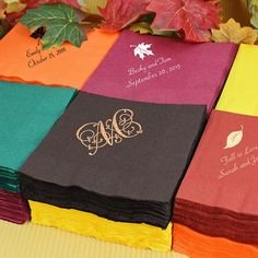 Design your own personalized fall colored, 3-ply cocktail wedding napkins to celebrate the brilliant colors and shapes of fall on your wedding day. #fallweddingnapkins #fallwedding #fallweddingideas