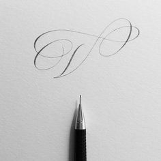 I am thinking of starting a pencil-lettered alphabet series, but with a twist. The twist being that most letters of the alphabet will be… Pencil Calligraphy, Calligraphy Fonts Alphabet, Copperplate Calligraphy, Hand Lettering Alphabet, Cursive Handwriting, Script Lettering, Lettering Styles, Typography Letters, Lettering Design