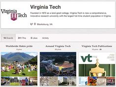 Virginia Tech's Pinterest pages are incredibly popular, with 737 followers on the school's main page, nearly 900 for Hokies Athletics, and more than 170 for Virginia Tech Libraries. As a group these pages do a great job spreading the word about what makes Virginia Tech great, sharing Hokie History, tailgating fun, and even Baby Hokies. We're especially impressed by the Hokie bucket list board that shares Virginia Tech traditions that every student should experience before graduation.