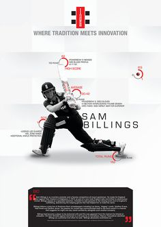 An infographic promoting the stats and equipment of Sam Billings Sports Sites, Post Ad, Window Graphics, Cricket Sport, Web Banner, Print Ads, Layout Design, Ash, Innovation