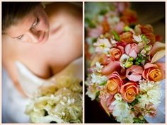 love the ornage roses, peach tulips and touches of white.