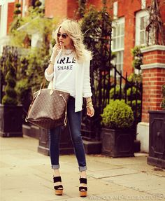 Primark Tshirt, Louis Vuitton Bag, Mango Jeans, Zara Sandals, H Sunglasses  (I like the rolled up skinny jeans with the white jacket)