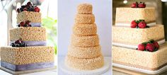 Remember your childhood favourite rice krispie treats? How about a rice krispie treat wedding cake?  Photos via Edible Crafts (left), Martha Stewart (middle) and Kina Wicks (right)