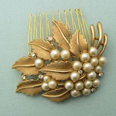 Pearl Cluster with Gold Leaves Hair Comb by LoveHonorUpcycle