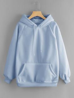 Dotfashion Blue Pocket Drawstring Detail Solid Hoodie Women Casual Clothing Autumn Plain Long Sleeve Hooded Pullovers Sweatshirt - blue,s Hoodie Outfit, Sweater Hoodie, Stylish Hoodies, Comfy Hoodies, Mode Kpop, Teen Fashion Outfits, Grunge Outfits, Mode Style, Cute Casual Outfits