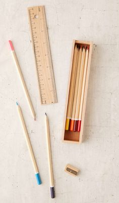 This colored pencil set with a sharpener and ruler that is also the box lid for maximum efficiency. | 23 Insanely Pretty Things Everyone Obsessed With School Supplies Needs To Own