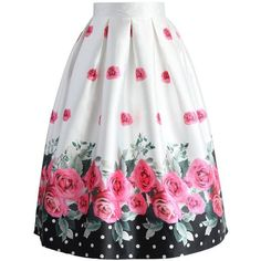 Dotted with Roses Midi Skirt ❤ liked on Polyvore featuring skirts, polka dot midi skirt, dot skirt, mid calf skirts, white polka dot skirt and white midi skirt