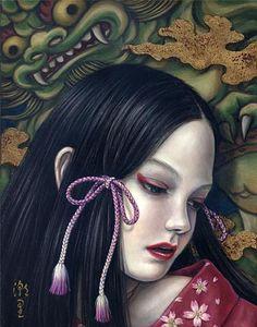 MEDITATION, (F0) 18.0x14.0cm, Gold leaf, Oil on canvas, #2008