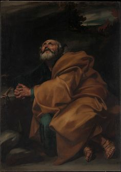 Jusepe de Ribera (called Lo Spagnoletto) (Spanish, 1591–1652). The Tears of Saint Peter, ca. 1612–13. The Metropolitan Museum of Art, New York. Purchase, Gift of Mrs. William M. Haupt, from the collection of Mrs. James B. Haggin, by exchange, and 2011 Benefit Fund, 2012 (2012.416) #mustache #movember