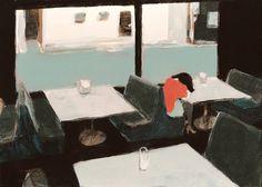 Japanese illustrator, Agoera - love this cafe scene