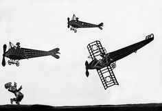 Greek shadow-puppet theatre 'Karagiozis', Character: Karagiozis and aircraft in the play 'The air journey of Karagiozi', Photographer Walter Hege, 1934