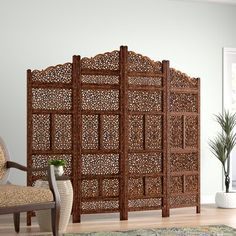 Beautiful carvings throughout this 4 Panel Room Divider can be used for both stunning accent furniture and a functional room screen to convert a small room into 2 spaces. Studio Furniture, Wood Furniture, Furniture Ideas, Furniture Design, Portable Room Dividers, 4 Panel Room Divider, Islamic Decor, Decorative Screens, Room Screen