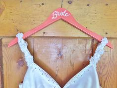 Hand painted wood Bride hanger, Rustic bridal hanger, wedding dress hanger, coral wedding dress hanger, Shabby wood hanger, photography prop by Instinct2create on Etsy