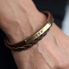 Personalisierte braun Lederarmband, Custom-Armband, personalisierte Brautjungfer Geschenk, Monogramm, Customized, Geschenk für ihn