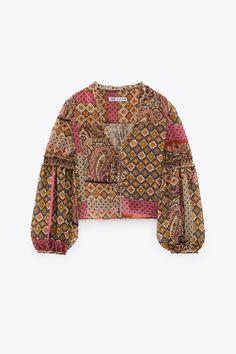 PAISLEY PRINT BLOUSE   ZARA Ireland Satin Crop Top, Satin Shirt, Zara Fashion, V Neck Blouse, Striped Knit, Printed Blouse, Paisley Print, Long Sleeve Sweater, Lace Tops