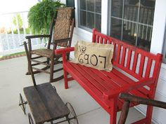 Fake-It Frugal: Front Porch Address Pillow & Family Bench easy!