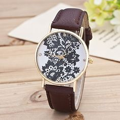 Retro Spitzen Uhr Lederausstattung Leichtmetall Damen Analoge Quarz Armbanduhr Braun - http://uhr.haus/sanwood/braun-retro-weltkarte-uhr-lederausstattung-2