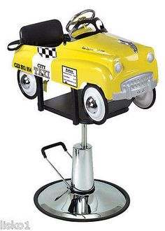 """PIBBS #1806 KIDS BARBER OR SALON HAIR CUTTING CHAIR """" TAXI CAB """" PEDAL CAR HYDRAULIC PUMP-ALL METAL CONSTRUCTION TAXI CAB KIDI CAR FOR SEATING. ITEM WILL BE DROP SHIPPED FROM MANUFACTURER $696.50 AND"""