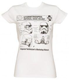 Ladies White Haynes Manual #Stormtrooper Helmet Star Wars T-Shirt xoxo