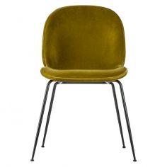 Beetle Chair Olive Green Velvet & Black Legs