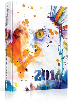 Yearbook Cover - Blue Mountain High School - Eagle, Watercolor, Watercolor Eagle, Splatter Paint, Splatterpaint, Ink Wash, Ink Splatter, Eagle Mascot, Mascot Theme, Blue Eagle, Blue Bird, Birds, Hawks, Falcons, Yearbook Theme, Yearbook