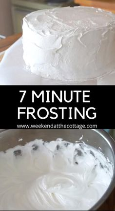 Only four ingredients, this snow-white, billowy, easy-to-handle frosting will make your next cake decorating adventure easy & delicious. SEVEN-MINUTE FROSTING: INGREDIENTS 1 cup of granulated sugar ¼ teaspoon of kosher salt ¼ cup of water 2 egg whites, room temperature Follow our video for step by step instructions. #easyfrostingrecipe #whiteicing #whitefrosting #dairyfreefrosting #dairyfreeicing #dessert #cookingvideo #cakedecorating #holidayrecipes #weekendatthecottage