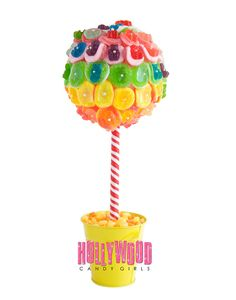 Rainbow Gummy Bear Candy Land Centerpiece Topiary Tree, Candy Buffet Decor Arrangement Wedding, Mitzvah, Party Favor, Edible Art on Etsy, $46.99