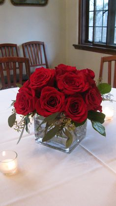 Red rose centerpiece | Pinterest | Red rose centerpieces, Rose ...