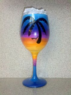 Sunset Beach Scene Hand Painted Wine Glass by GlassworksbyLena, $20.00
