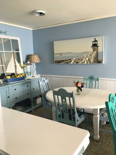 Our beach coastal blue and white dining room! Love the chairs and table