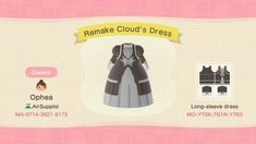 Animal Crossing: New Horizons Codes for Final Fantasy 7 Outfits Animal Crossing Qr Codes Clothes, Animal Crossing Game, Motif Acnl, Happy Home Designer, City Folk, Tea Design, Cloud Strife, Destiny, Pets