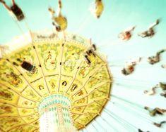 ☼ Fine Art Carnival Photograph of a happy lemon yellow vintage carnival ride
