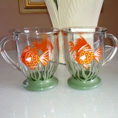Orange fish hand painted glass mugs.  Tea for by GlassesbyJoAnne, $36.00