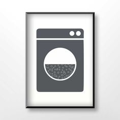 Laundry poster, laundry sign, laundry printable, home decoration, dark grey, white, washing machine sign, 1017 by GreenVector on Etsy