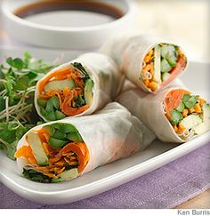 Asparagus & Salmon Spring Rolls. A Low-Sodium, Low-Fat, Low-Cholesteral Recipe.