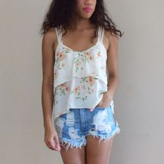 Double Strap Back Cross Floral Tank Double strapped cross floral tank. Perfect for spring and hot summer days. Feminine and pretty Forever 21 Tops Tank Tops