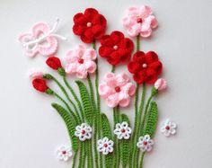 Häkeln Sie Crochet Applique bunte Blume Blume