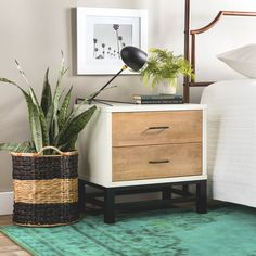 Henna Tri-tone 2-drawer Nightstand | Overstock.com Shopping - The Best Deals on Nightstands